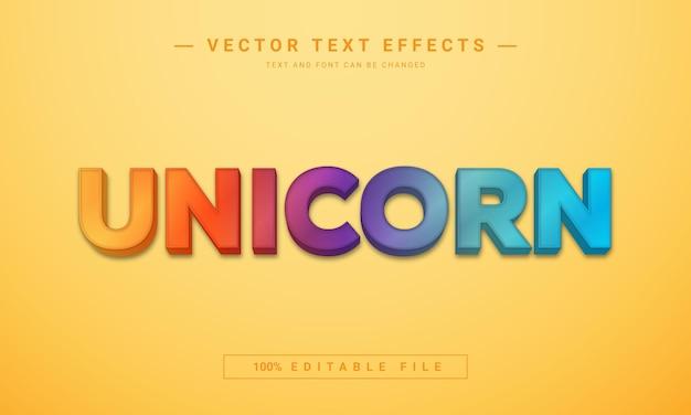 Efeito de texto de unicórnio colorido