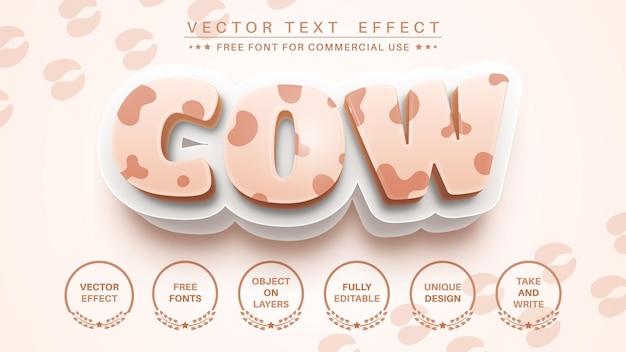 Efeito de texto de vaca 3d, estilo de fonte