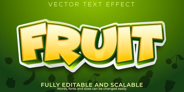 Efeito de texto de vegetais de frutas, estilo de texto editável natural e fresco