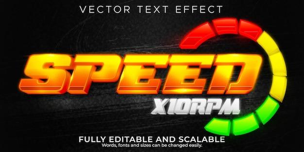 Efeito de texto de velocidade de corrida, esporte editável e estilo de texto campeão