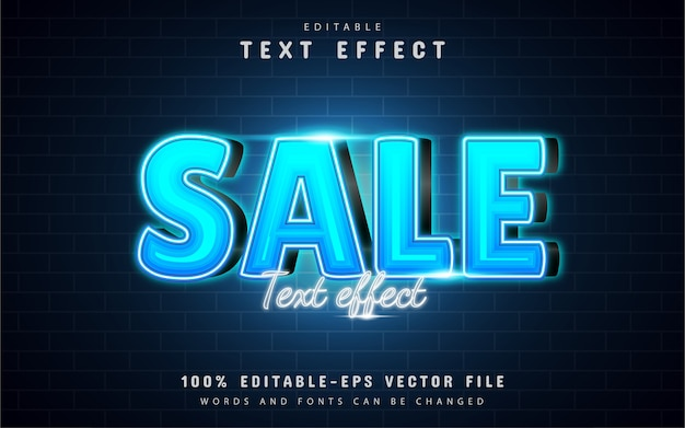 Efeito de texto de venda com gradiente azul