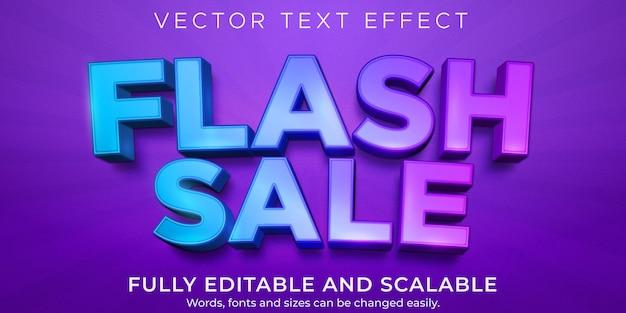 Efeito de texto de venda em flash, oferta editável e estilo de texto de desconto