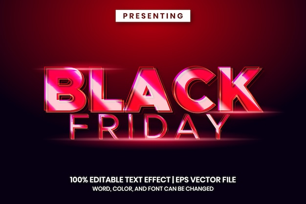 Efeito de texto de venda na sexta-feira em preto com estilo brilhante