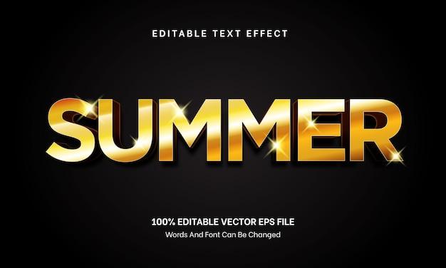 Efeito de texto de verão estilo ouro editável