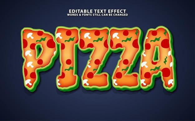 Efeito de texto de vetor de pizza editável