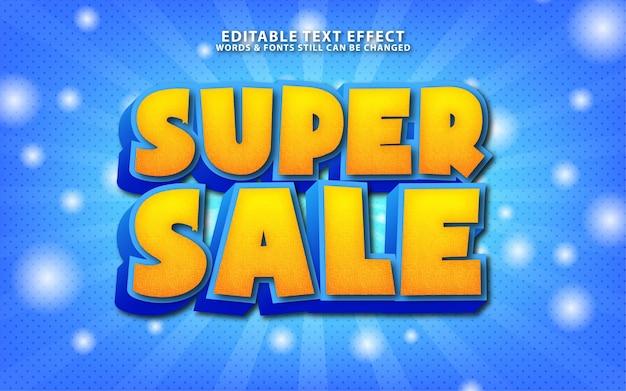 Efeito de texto de vetor de super venda editável