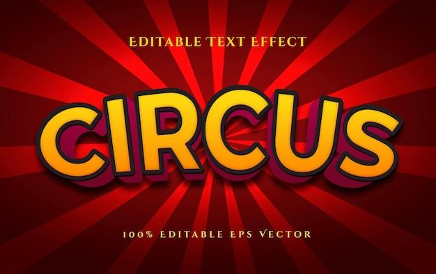 Efeito de texto de vetor editável de estilo 3d festivo de circo