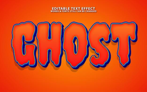 Efeito de texto de vetor fantasma editável para banner de halloween