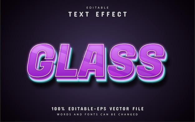 Efeito de texto de vidro roxo editável