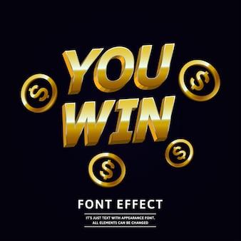 Efeito de texto de vitória de ouro 3d para design de festa