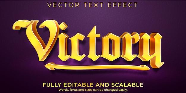 Efeito de texto de vitória dourada; jogo editável e estilo de texto de metal