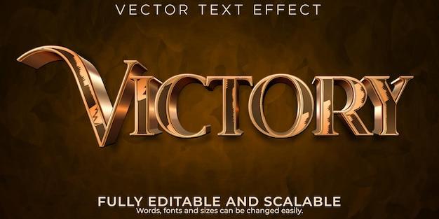 Efeito de texto de vitória metálico, estilo de texto editável elegante e brilhante