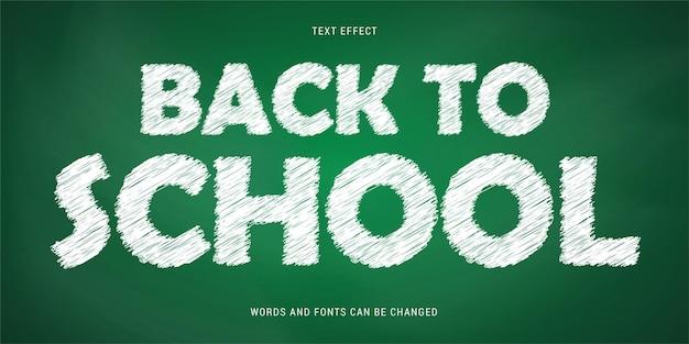 Efeito de texto de volta às aulas isolado no fundo do quadro-negro editável eps cc