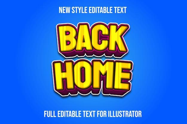 Efeito de texto de volta para casa cor gradiente amarelo e rosa
