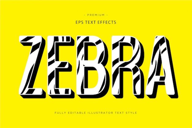 Efeito de texto de zebra estilo de texto de zebra