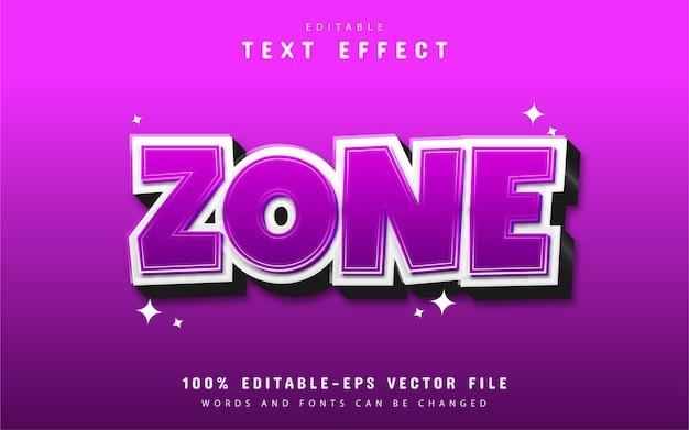 Efeito de texto de zona com gradiente roxo