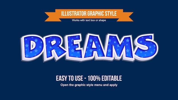 Efeito de texto decorativo 3d de desenho animado azul com padrão de estrelas