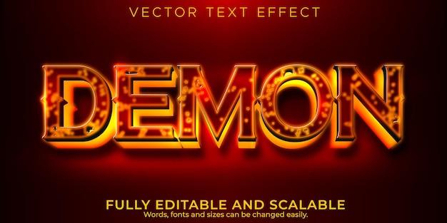 Efeito de texto demônio demônio, estilo de texto editável em vermelho e horror