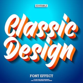 Efeito de texto design clássico 3d