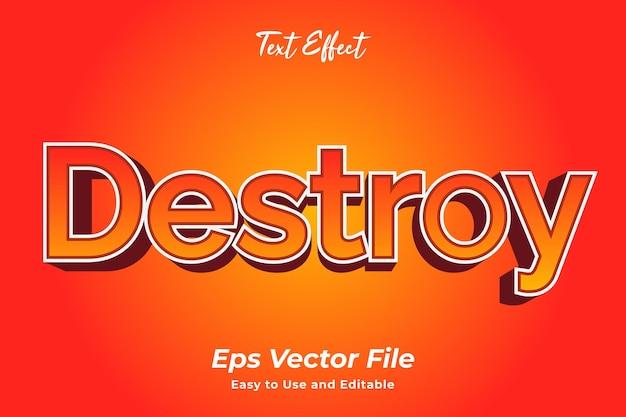 Efeito de texto destroy editável e fácil de usar premium vector