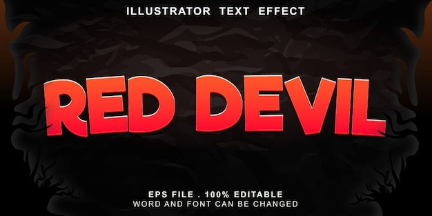 Efeito de texto diabo vermelho editável