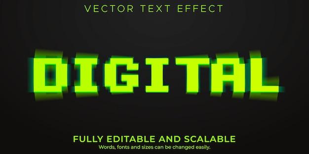 Efeito de texto digital, dados editáveis e estilo de texto analógico
