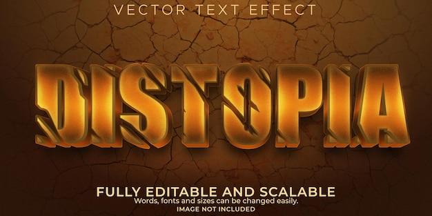 Efeito de texto distopia, apocalipse editável e estilo de texto desastre