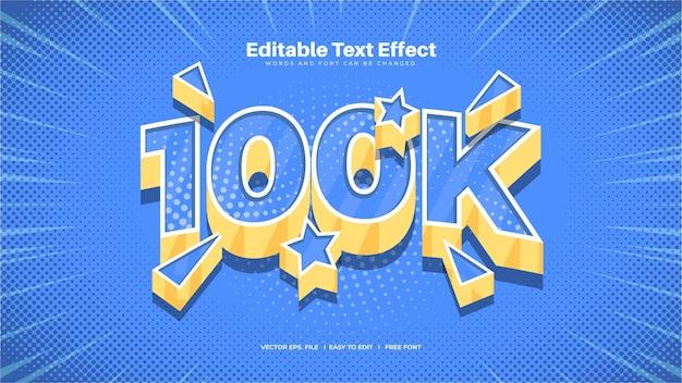 Efeito de texto divertido de 100 k