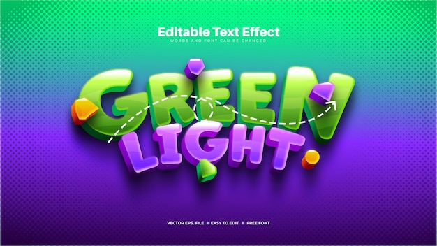 Efeito de texto divertido de luz verde