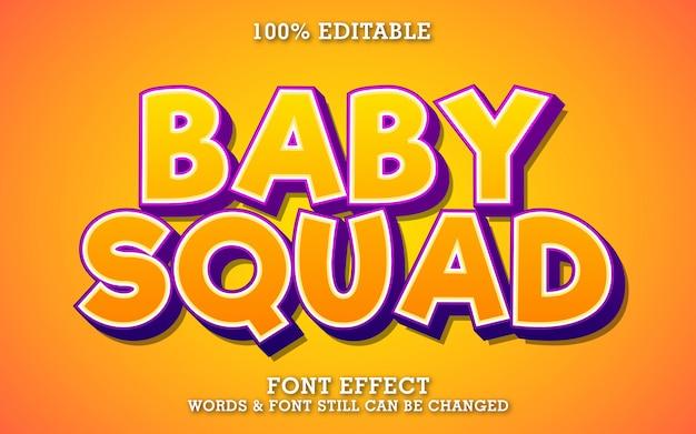 Efeito de texto divertido e bonito dos desenhos animados para etiqueta ou título