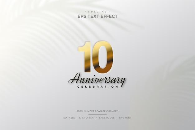Efeito de texto do 10º aniversário com elegantes números dourados