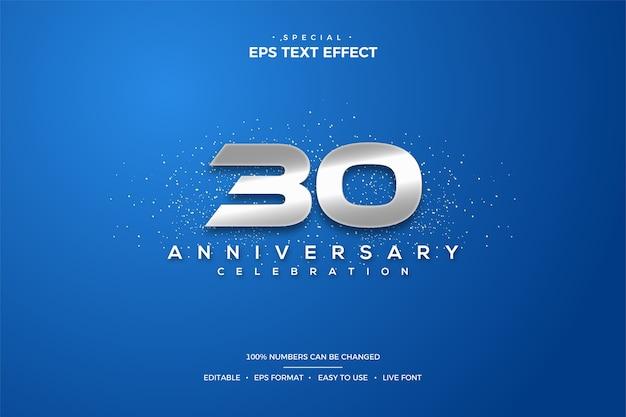 Efeito de texto do 30º aniversário com números prateados em fundo azul Vetor Premium