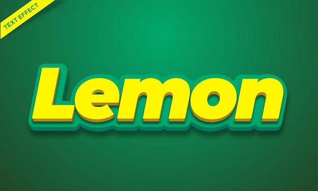 Efeito de texto do alfabeto 3d amarelo limão ou design de estilo de efeito de fonte