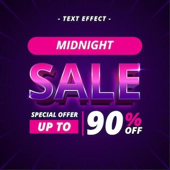 Efeito de texto do banner de venda à meia-noite