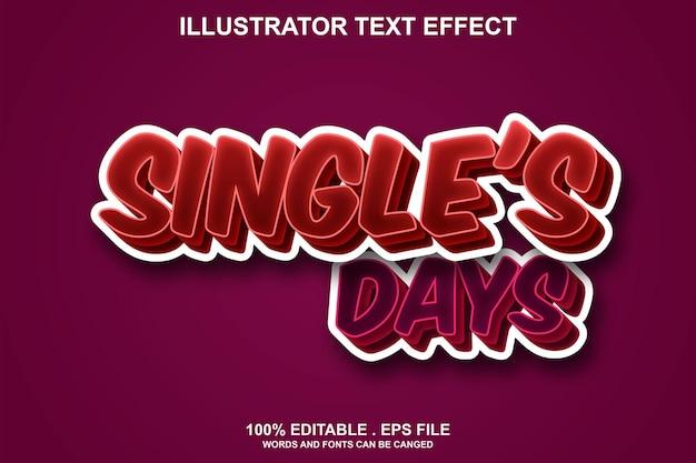 Efeito de texto do dia de solteiros editável