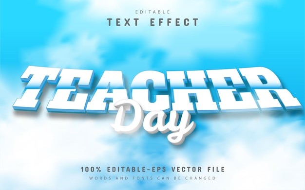 Efeito de texto do dia do professor editável