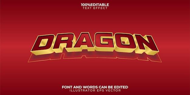 Efeito de texto do dragão, tema totalmente editável em vermelho e dourado