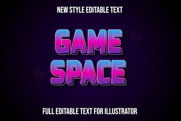 Efeito de texto do espaço de jogo cor gradiente azul e rosa