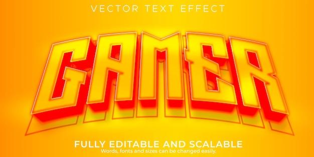 Efeito de texto do esport gamer, jogo editável e estilo de texto neon