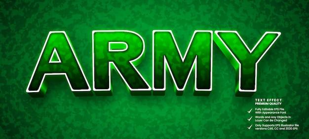 Efeito de texto do exército 3d
