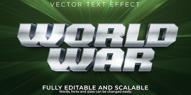 Efeito de texto do exército da guerra mundial, estilo de texto militar e histórico editável