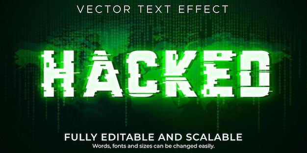 Efeito de texto do hacker; vírus editável e estilo de texto de ataque