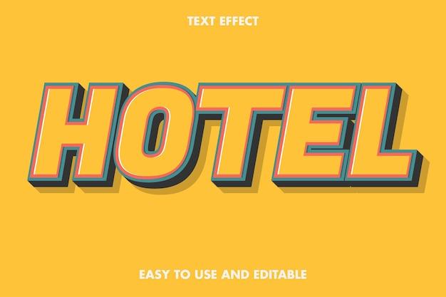 Efeito de texto do hotel. editável e fácil de usar.