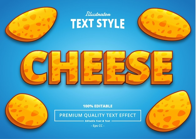 Efeito de texto do ilustrador queijo