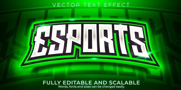 Efeito de texto do jogador, esport editável e estilo de texto neon