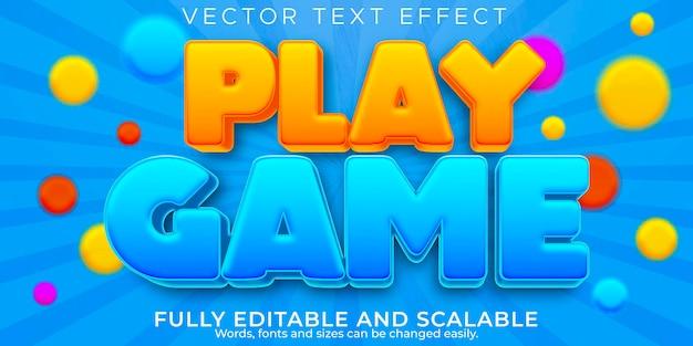 Efeito de texto do jogo de desenho animado, crianças editáveis e estilo de texto escolar