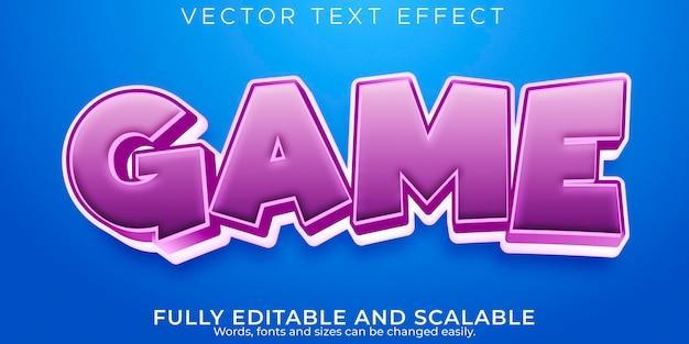 Efeito de texto do jogo; desenho editável e estilo de texto em quadrinhos