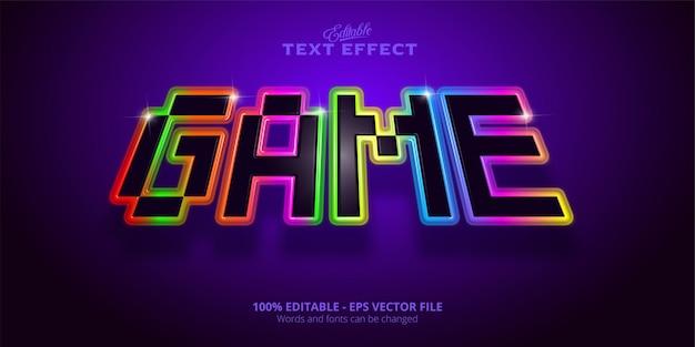 Efeito de texto do jogo, efeito de texto editável em estilo neon