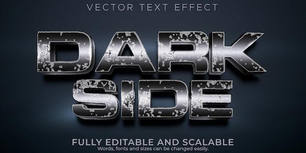 Efeito de texto do lado escuro, castelo editável e estilo de texto metálico