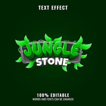 Efeito de texto do logotipo do título do jogo da folha da natureza da pedra da selva